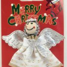 White Angel Silver Wings Halo Broach Pin Brooch Christmas Holiday