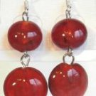 Round Lampwork Red Glass Silver Plated Dangle Earrings
