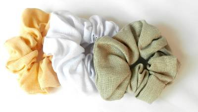 Lot 3 Linen Hair Twisters Scrunchies Ponytail Holder Yellow White Green
