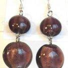 Round Lampwork Purple Glass Silver Plated Dangle Earrings