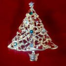 Gold Tone Christmas Holiday Red Green Rhinestone Ornament Tree Broach Brooch Pin