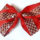 Red Silver Checkered Hair Bows Alligator Clip Barrette