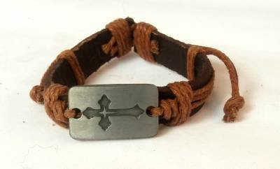 Brown Hemp Leather Bracelet Rectangle Pewter Budded Cross Inside