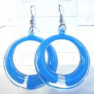 Blue Clear Acrylic Round Circle Dangle Earrings