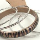Gold Color Tiger Stripe Acrylic 4 Thin Silver Tone Bangle Bracelet Set