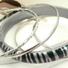 Silver Tiger Stripe Acrylic 4 Thin Silver Tone Bangle Bracelet Set