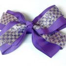 Purple Silver Checkered Hair Bows Alligator Clip Barrette