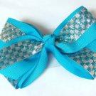 Blue Silver Checkered Hair Bows Alligator Clip Barrette