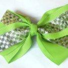 Green Silver Checkered Hair Bows Alligator Clip Barrette