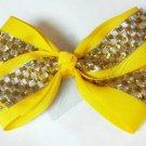 Yellow Silver Checkered Hair Bows Alligator Clip Barrette