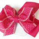 Pink White Polka Dot Hair Bows Alligator Clip Barrette