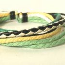 Wrapped Leather Bracelet Surfer Wristband Ethnic Tribal Yellow White Black