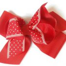 Red White Polka Dot Hair Bows Alligator Clip Barrette