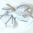 White Black Polka Dot Hair Bows Alligator Clip Barrette