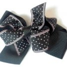 Black Pink Polka Dot Hair Bows Alligator Clip Barrette