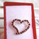 Red Stone Studded Heart Fashion Brooch Broach Pin in Matching Case