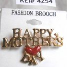 Happy Mother's Day Fashion Brooch Broach Pin Red Heart Gold Tone