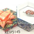 Coral Black White Natural Stone Gemstone Silver Tone Ring Gift Box Included Xmas