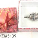 Gray White Natural Smooth Stone Gemstone Silver Tone Ring Gift Box Included Xmas