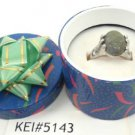 Green Natural Stone Gemstone Silver Tone Ring Gift Box Included Xmas