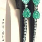 Lot 2 Green Heart Rhinestone Black Hair Clip Alligator Salon Barrette Elegant