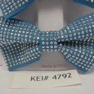 Lot 2 Blue Silver Tone Studded Hair Bows Alligator Clip Barrette Adorable