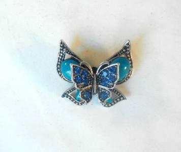 Blue Double Butterfly Fashion Brooch Broach Pin Silver Tone