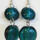 Round Lampwork Dark Blue Glass Silver Plated Dangle Earrings