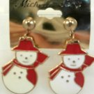 Large Snow Man Red Scarf Hat Stud Gold Tone Earrings Christmas Holiday