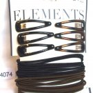 Elements Black Brown 18 Ponytail Holders 6 Hair Clips 92023