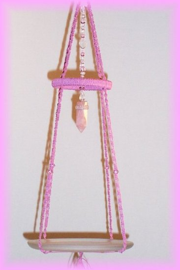 Hanging Pink Jute Display Shelf
