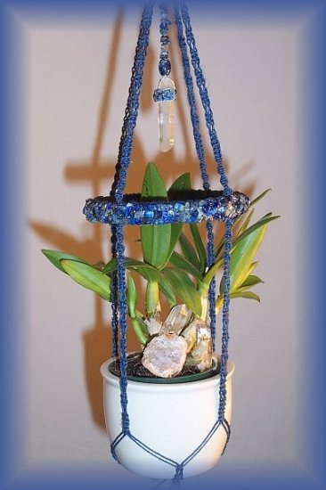 Small Denim Jute & Lapis Plant Hanger