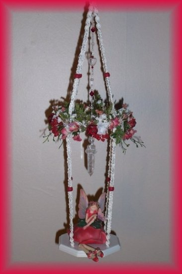 Hanging Red Rose Fairy Swing