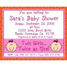 20 Baby Shower Invitations for TWIN GIRLS