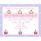 20 Birthday Invitations   for TRIPLETS