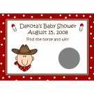 24 Personalized Baby Shower Scratch Off Game Cards - LITTLE COWBOY