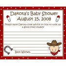 24 Personalized Baby Shower Advice Cards  LITTLE COWBOY THEME