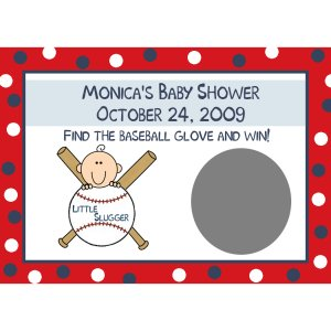 24 Baby Shower Scratch Off Game Cards - Baseball Little Slugger Theme