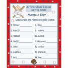 24 Personalized  Baby Shower Word Scramble Game Cards Baseball Little Slugger Theme