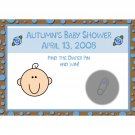 24 Personalized Baby Shower Scratch Off Game Cards  - Chocolate Brown and Baby Blue