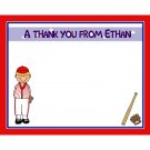 20 Personalized Baseball Thank You Cards