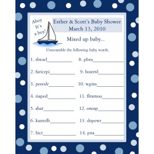 baby shower word scramble game cards ahoy it 39 s a boy nautical theme