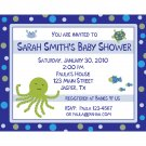 30 Personalized Baby Shower Invitations  UNDER THE SEA THEME
