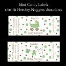 120 Personalized Baby Shower Mini Candy Bar Labels  BABY CLOTHES LINE SAGE GREEN AND CHOCOLATE BROWN
