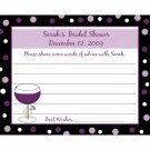 24 Personalized Bridal Shower Advice Cards - WINE AND RING in Purples