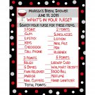 24 Personalized Bridal Shower Game Cards WHATS IN YOUR PURSE GAME -- Wine and Ring in BURGANDY