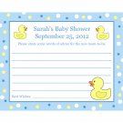 24 Personalized Baby Shower Advice Cards  RUBBER DUCKY BLUE