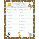 24 Personalized Baby Shower Word Scramble Game Cards - Zoo Animals