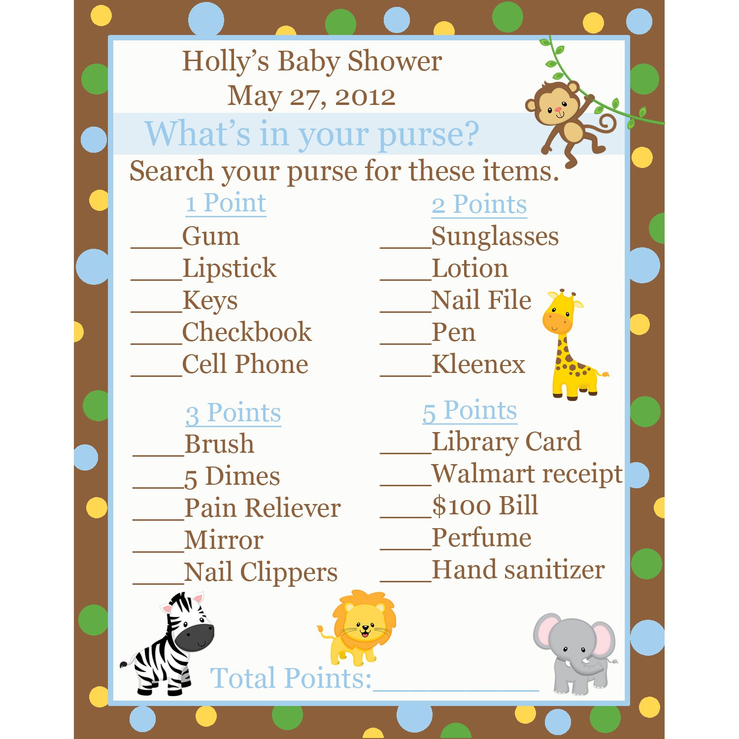24 personalized baby shower what 39 s in your purse game cards