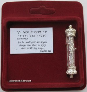 Beautiful silver car mezuza with scroll mezuzah Israel